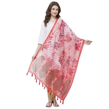 Pink Colored Digital Print Soft Chanderi Dupatta with Tassels