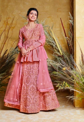 Pink embroidered pure silk salwar