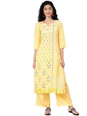 Women's Yellow Colour Khadi Print Straight Polysilk Kurta