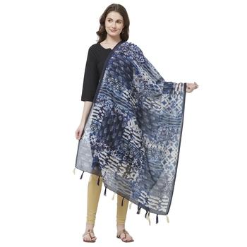 Blue Colored Digital Print Soft Chanderi Dupatta with Tassels