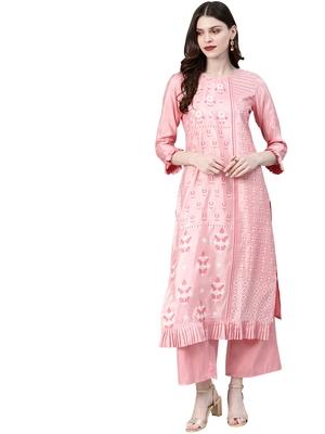 Women's Pink Colour Khadi Print Straight Polysilk Kurta