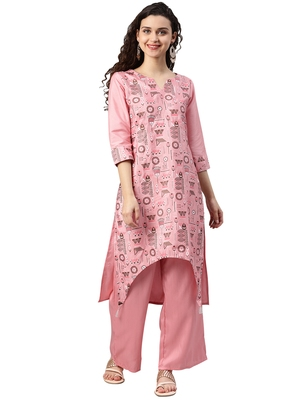 Women's Pink Colour Khadi Print Straight Polysilk Kurta