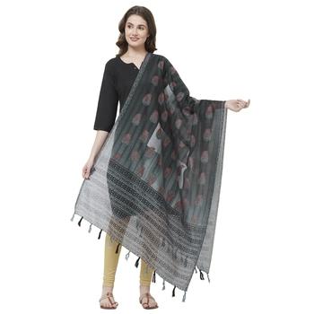 Black Colored Digital Print Soft Chanderi Dupatta with Tassels