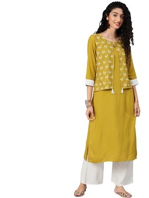Women's Mustared Colour Khadi Print Straight Rayon Kurta
