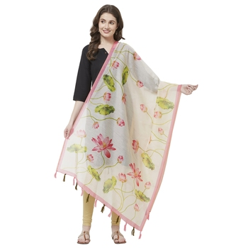 Beige Colored Digital Print Soft Chanderi Dupatta with Tassels