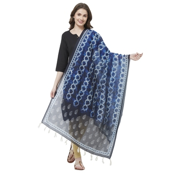 Navy Blue Colored Digital Print Soft Chanderi Dupatta with Tassels