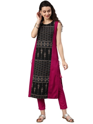 Women's Pink Colour Solid Straight Crepe Kurta