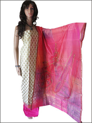 Pink Hand painted dupatta with rich brocade top and pink bottom