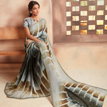 Grey embroidered Crepe saree with blouse