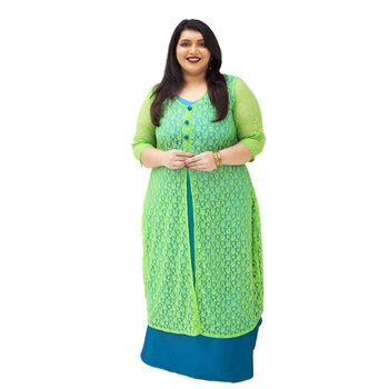 Green plain cotton silk kurtas-and-kurtis