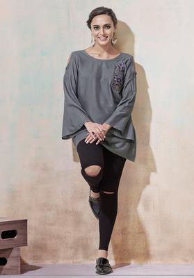 Grey embroidered viscose rayon long-tops