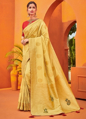 Gold embroidered silk saree with blouse