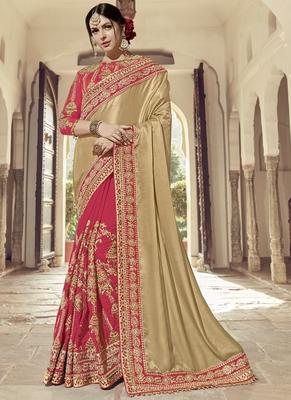 Beige embroidered banarasi silk saree with blouse