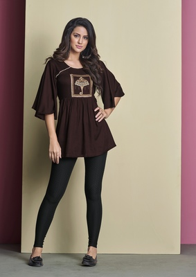 Brown embroidered viscose rayon long-tops