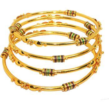 Gold Plated Traditional Designer Plain Bangles Sets for Women & Girls