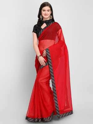 Red printed Net saree with blouse