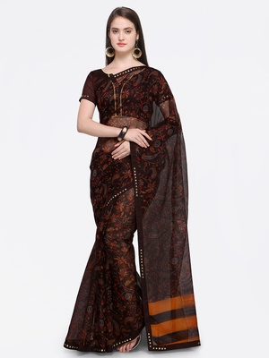 Brown printed Net saree with blouse