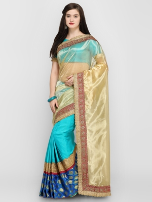 Blue printed cotton saree with blouse