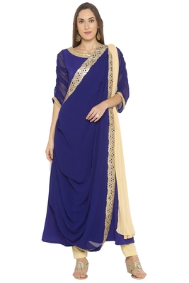 Dark Blue Multi Cutwork Borders  Georgette Salwar