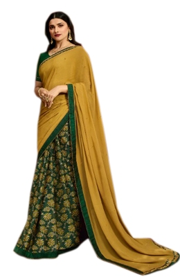 Women's Designer Yellow Colour Georgette Saree With Blouse Piece