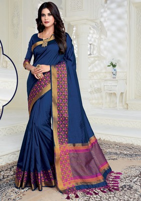 Blue woven raw silk saree with blouse
