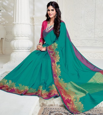Green woven raw silk saree with blouse