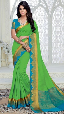Light green woven raw silk saree with blouse