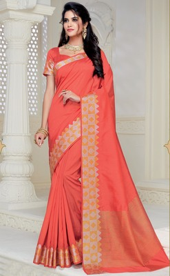 Peach woven raw silk saree with blouse