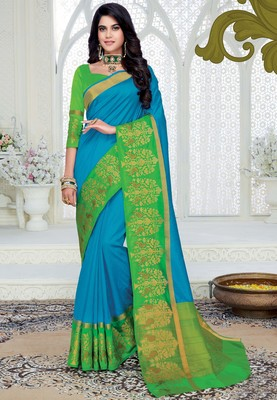 Sky blue woven raw silk saree with blouse