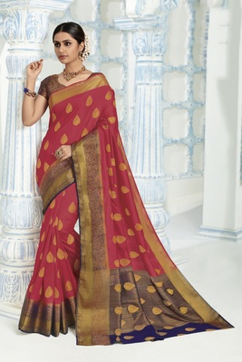 Coral woven raw silk saree with blouse