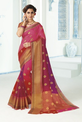 Multicolor woven raw silk saree with blouse