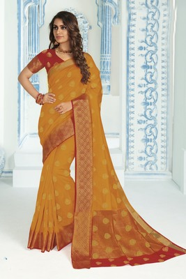 Yellow woven raw silk saree with blouse