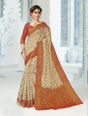 Beige woven raw silk saree with blouse