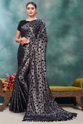 Silver plain silk saree with blouse