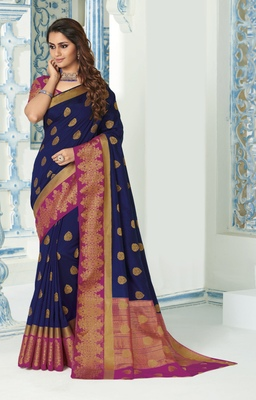 Navy blue woven raw silk saree with blouse