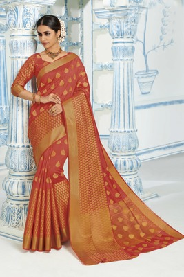 Orange woven raw silk saree with blouse