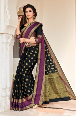 Black woven satin saree with blouse