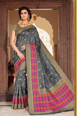 Grey woven satin saree with blouse