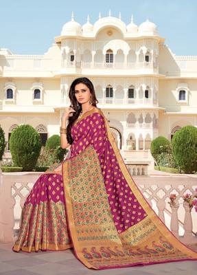 Rani pink woven satin saree with blouse