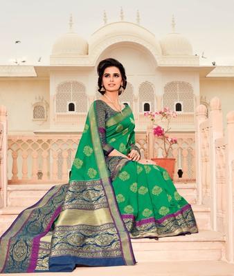 Green woven satin saree with blouse