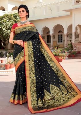 Black woven satin saree with blouse