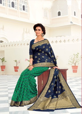 Navy blue woven satin saree with blouse