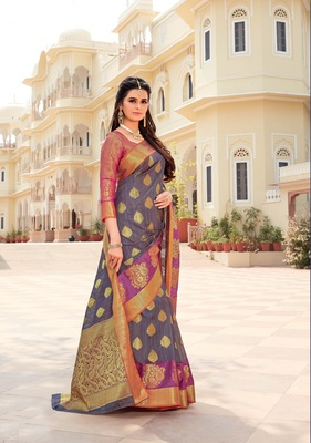 Blue woven satin saree with blouse