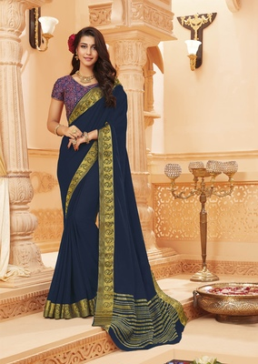 Navy blue printed satin saree with blouse