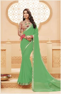 Light green printed satin saree with blouse