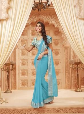 Sky blue printed satin saree with blouse