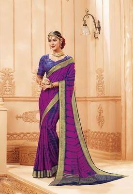 Magenta printed satin saree with blouse