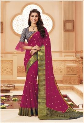 Rani pink printed satin saree with blouse