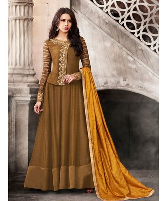Mustard embroidered satin semi stitched salwar with dupatta
