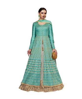 turquoise embroidered art silk semi stitched salwar with dupatta